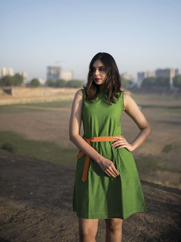 Green A-Line Dress with Orange Belt
