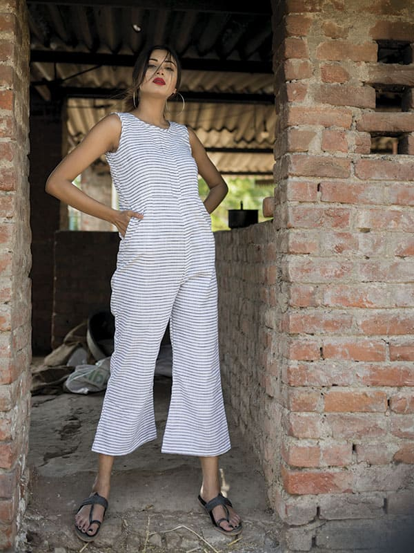 White and Grey Lining Jumpsuit