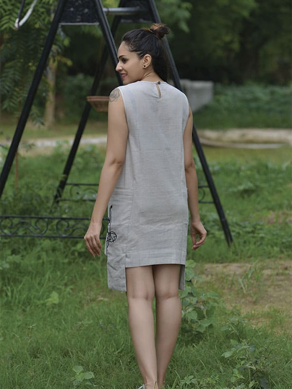 Grey Dress with Embroidered Pockets