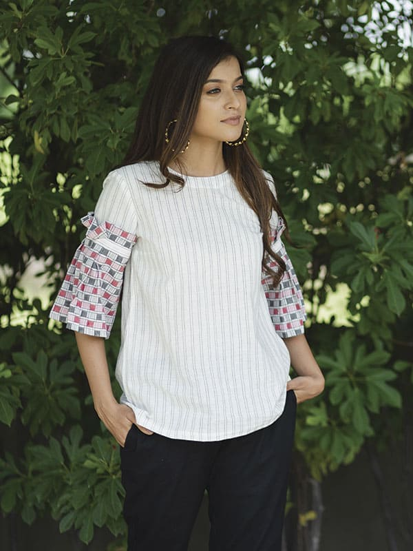 White Checkered Ruffled Top