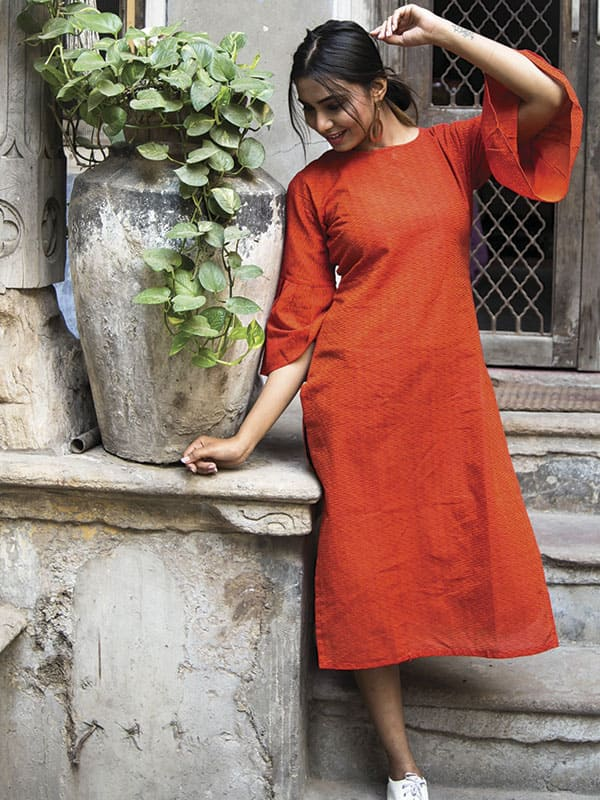 Red Colored Kurta with Bell Sleeves