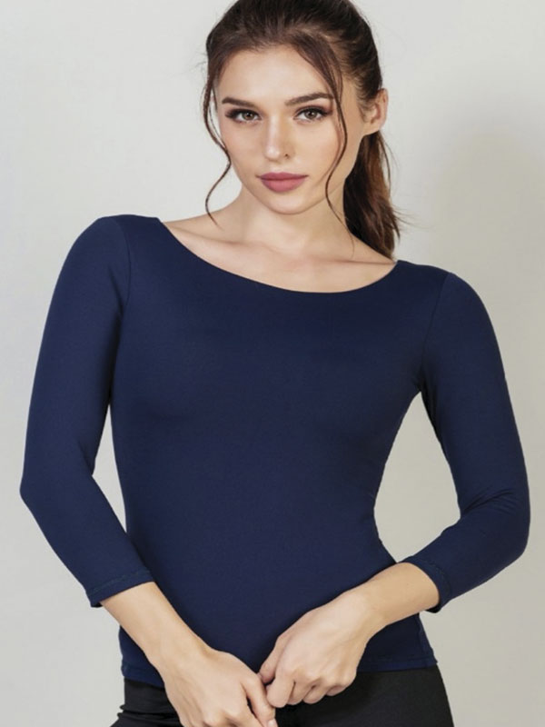 Full Sleeve Chest Padded Top for Women (Blue)