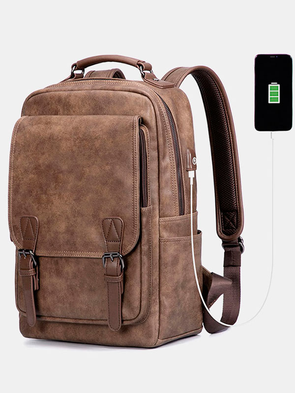 Men Anti-theft Faux Leather Backpack For Business