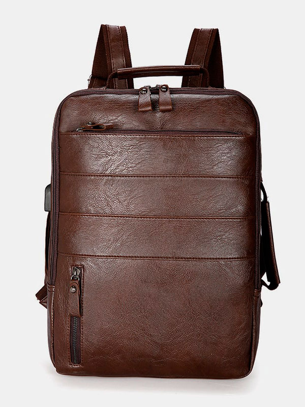Men Faux Leather Backpack Handbag
