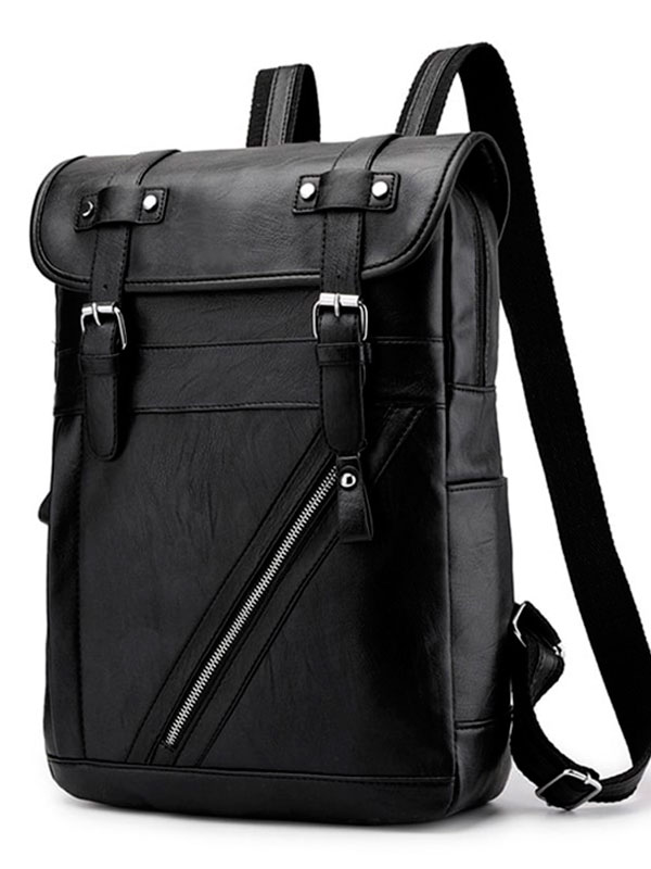 Men Faux Leather  School Backpack Leisure Shoulder