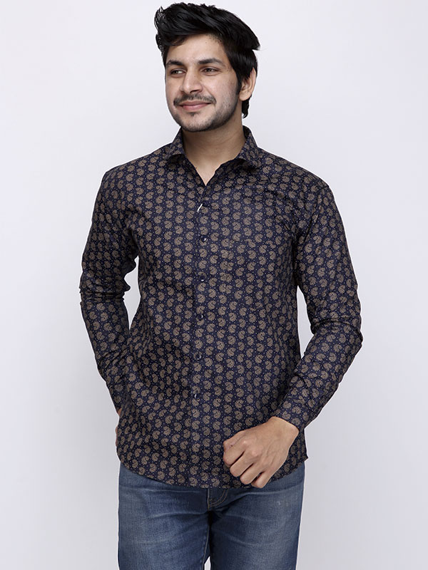 Men Body Fit Block Printed Navy Casual Shirt