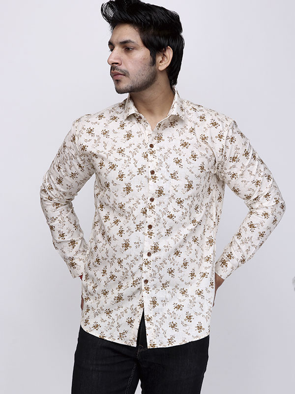 Men Contrast Floral Printed Cream Casual Shirt