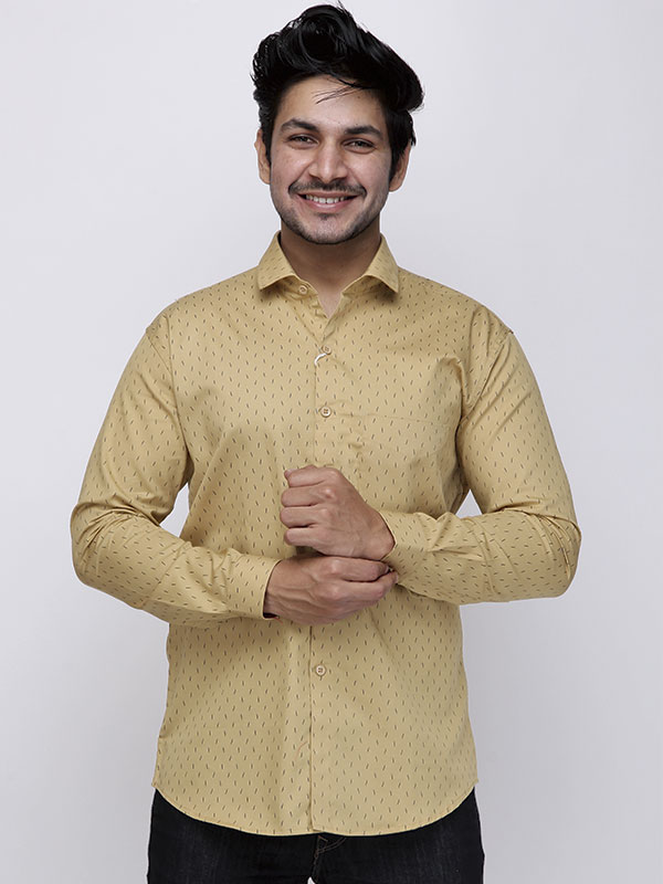 Men Abstract Printed Beige Shirt