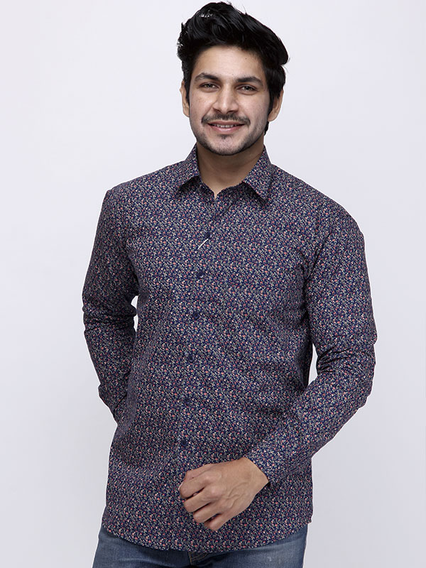 Men Blue Floral Printed Causal Shirt