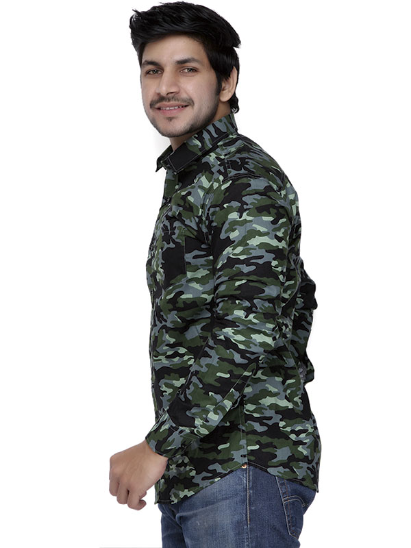 Men Camo Full Sleeves Shirt-Green