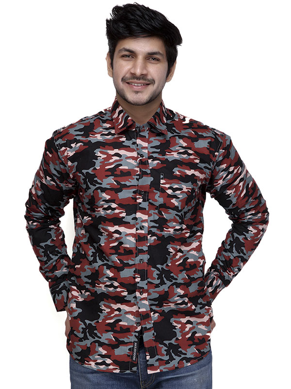 Men Camo Full Sleeves Shirt-Red