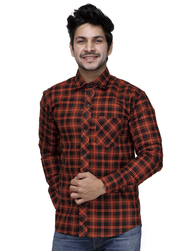 Men Black & Orange Checkered Casual Shirt