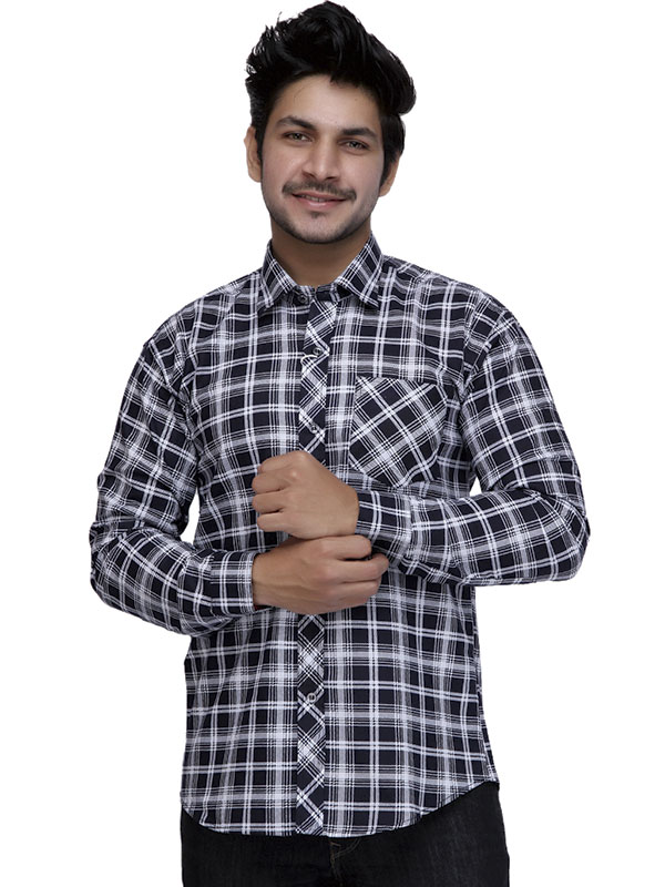Men Navy White Check Full Sleeve Shirt