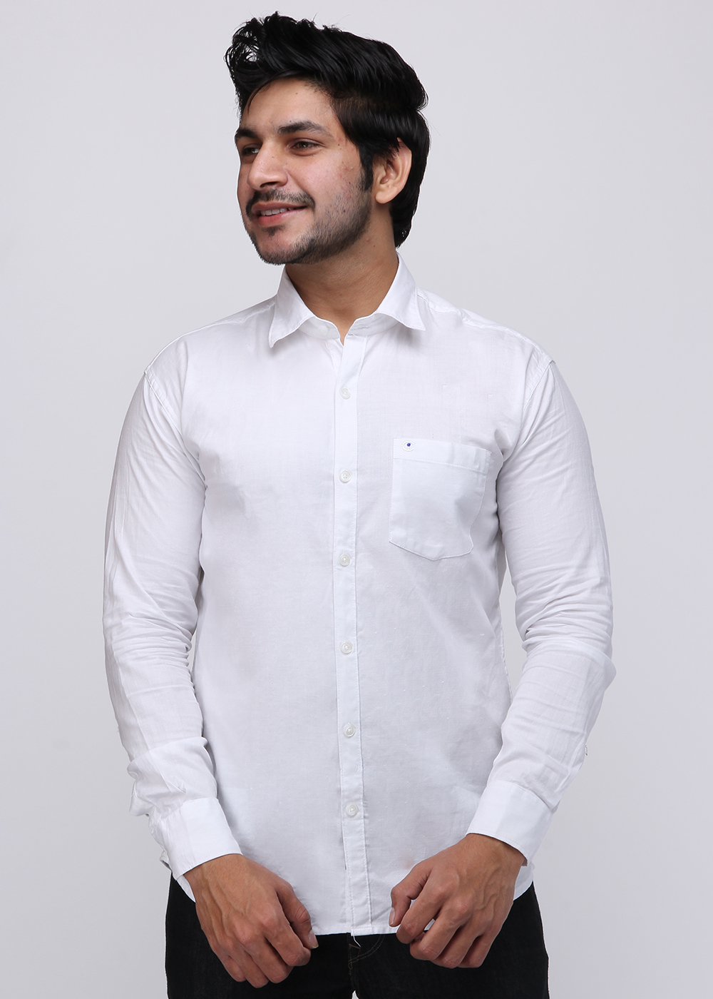 Men White Full Sleeve Causal Shirt