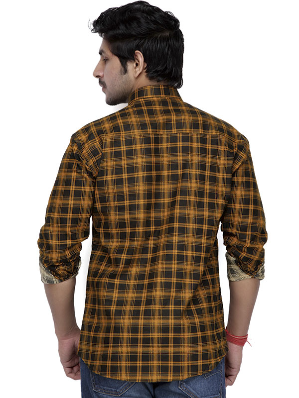 Men Yellow & Black Check Casual Shirt