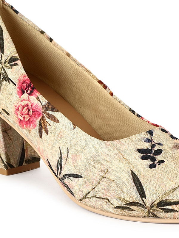 Multicolored Women Floral Block Heel Pump
