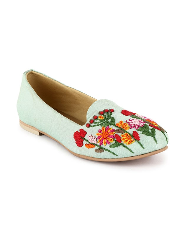 Pop Floral Embroidered Loafers