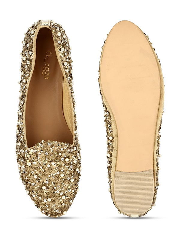 Pearl & Gold Sequinned Women Loafers