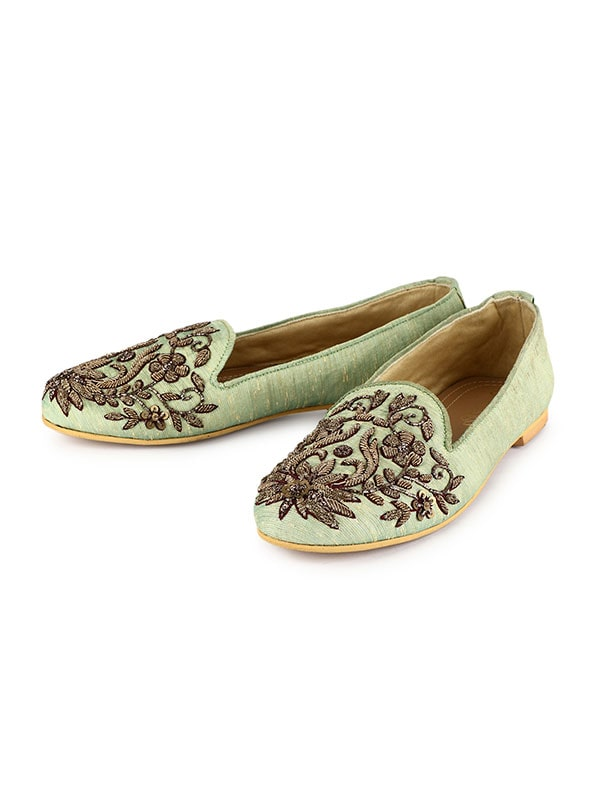 Floral Gold Sequinned Sage Green Loafers