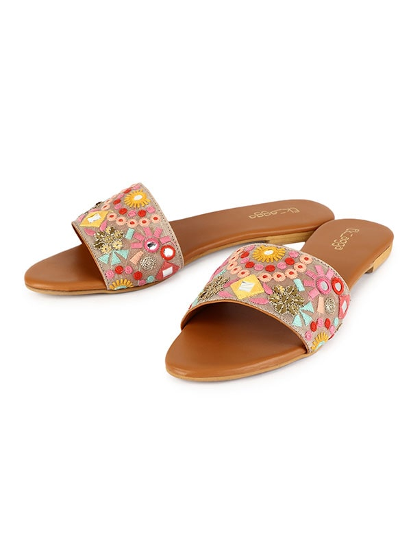 Mirror Embroidered Floral Slides