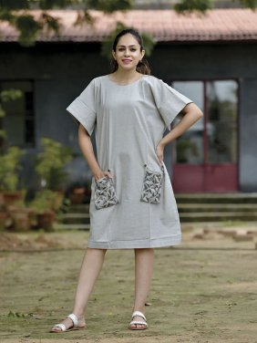 Grey A-Line Dress with Sequence Pockets