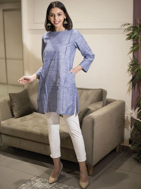 Solid Blue Formal Kurta