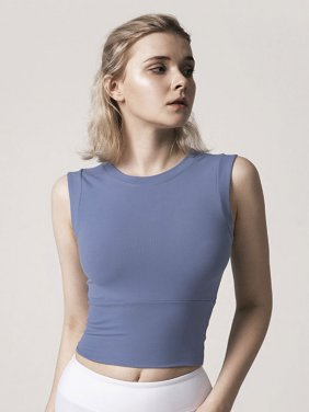 Sleeve Less Chest Padded T-Shirt for Women (Nevy Blue)