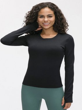 Full Sleeve Chest Padded T-Shirt for Women (Dark Black)