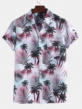 Summer Loose Vacation Palm Tree Printing Hawaiian Shirts