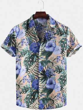 Blue Oriental Print Short Sleeve Relaxed Shirts