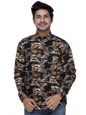 Men Camo Full Sleeves Shirt-Brown