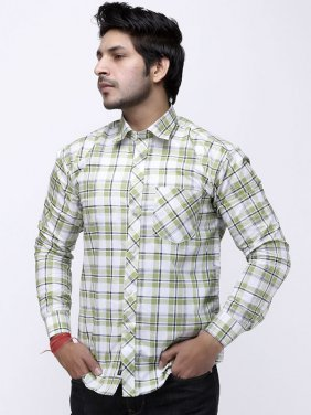 Man Green White Check Full Sleeve Shirt