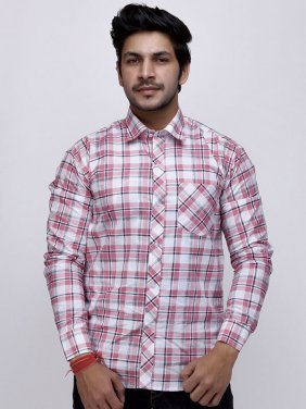 Men Pink White Check Full Sleeve Shirt