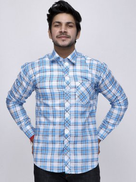 Men Turquoise White Check Full Sleeve Shirt