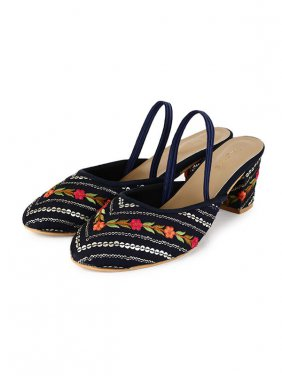Women Sequin & Embroidery  Navy Block Heel Mules